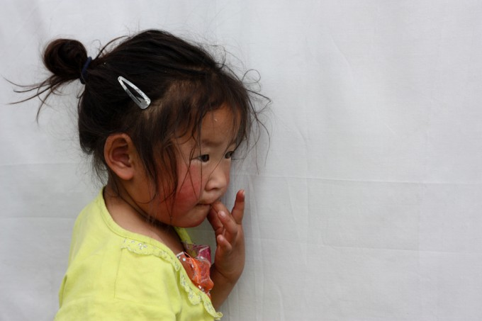 A young Mongolian girl at the ger camp