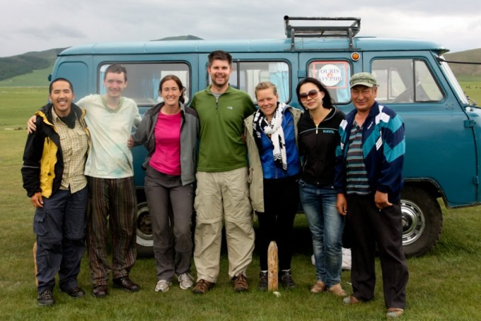 From left to right: Dave from Australia, Euan from Scotland, Laurie, myself, Sofie, Suvdaa our guide, and Dasha our driver.