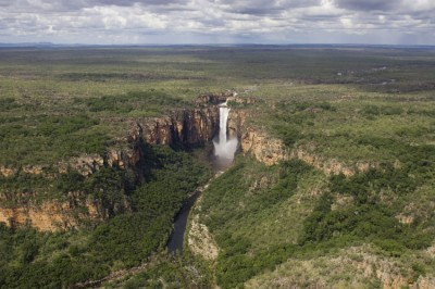 Aerial Jim Jim Falls in the wet season, Kakadu National Park