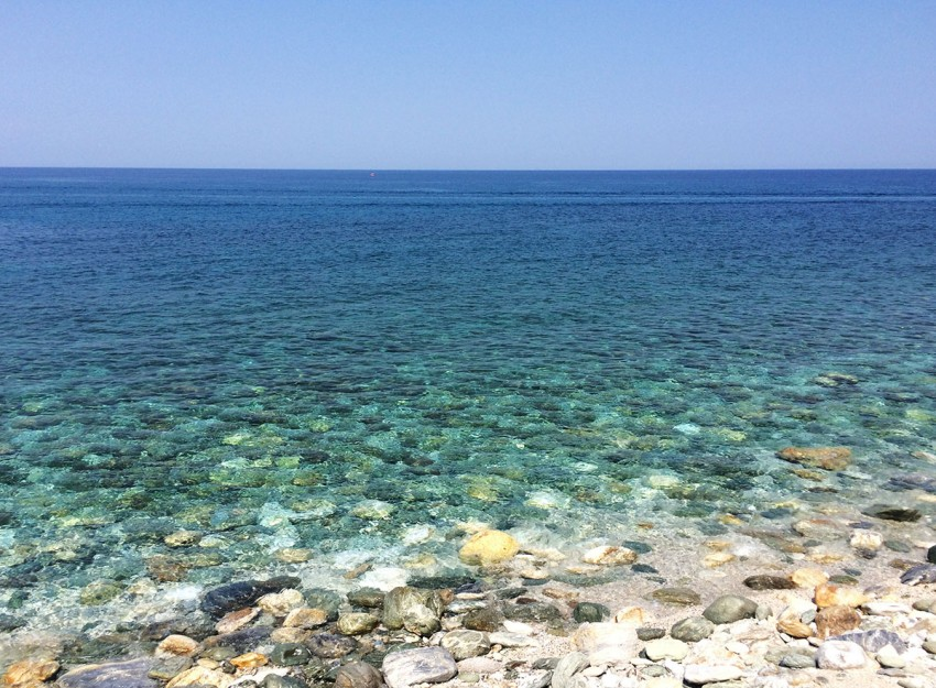 The crystal waters at Agios Ioannes