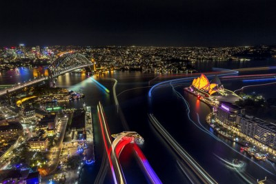 Harbour Lights at Vivid Sydney. Vivid Sydney 2015.
