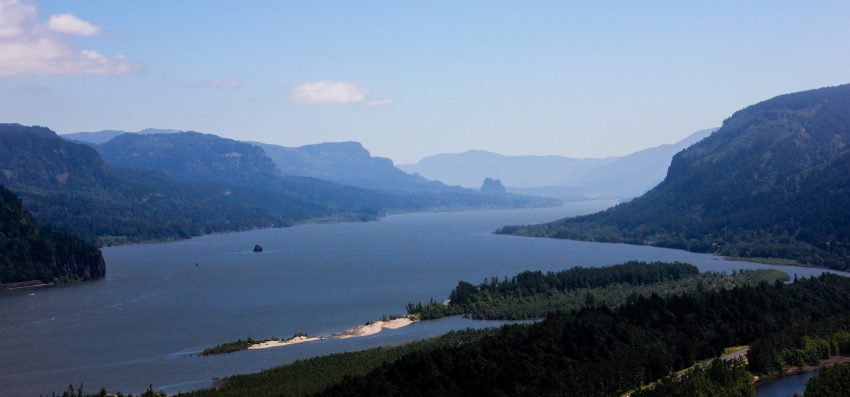 The view of the Columbia River Gorge from the Vista House in Corbett, Oregon