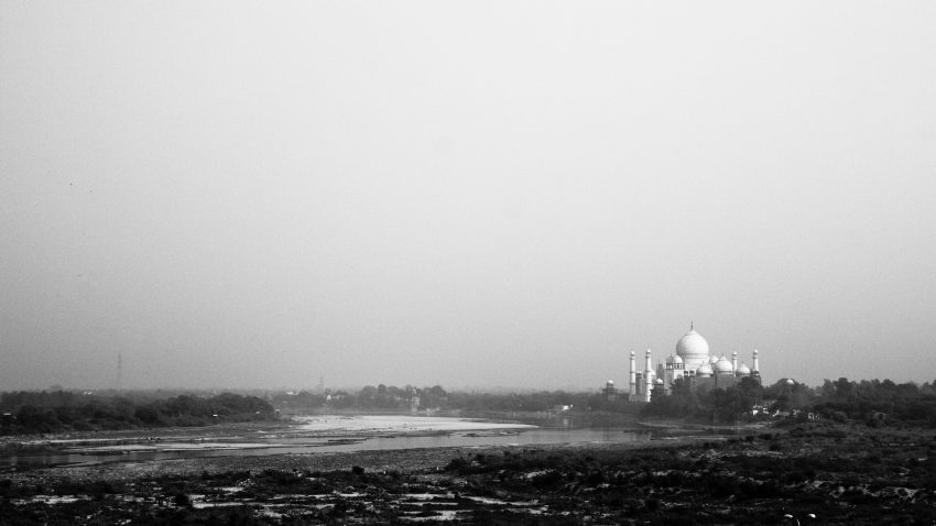 The view of the Taj Mahal from Agra Fort