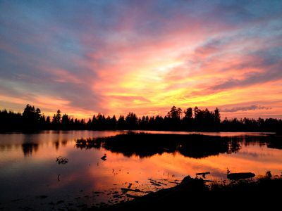 Sunset over Manzanita Lake, Lassen Vocanic National Park