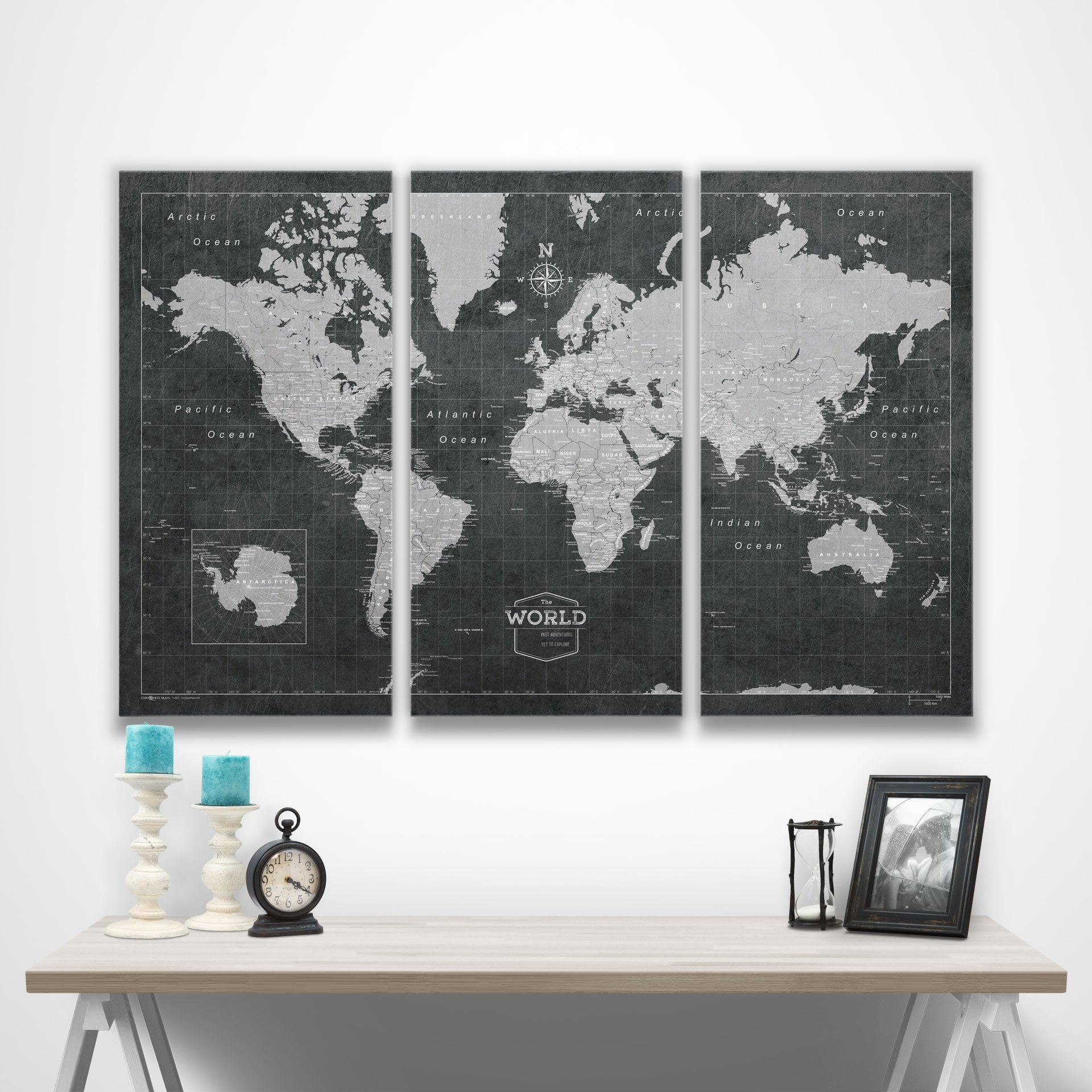 Modern Slate World Map Canvas 48x32 2048x 2018 Holiday Gift Guide for the Traveler