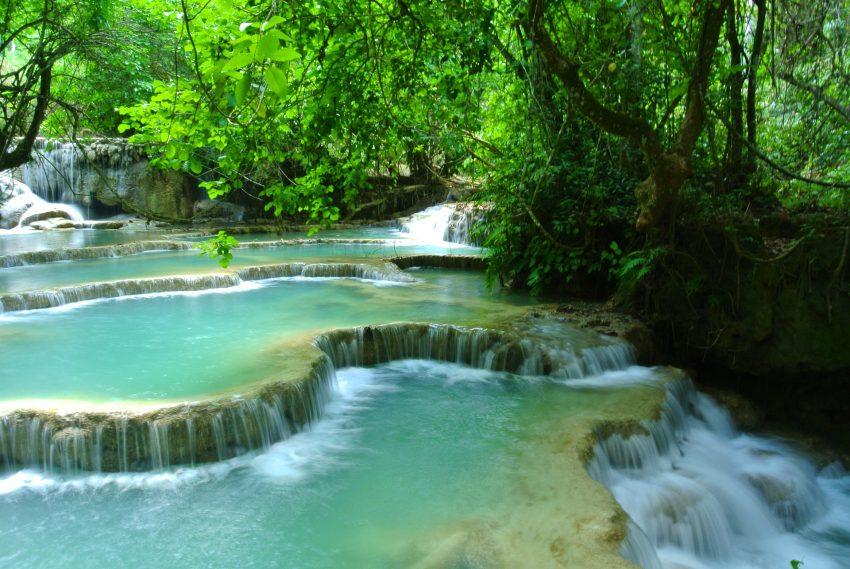 Turquoise water at Kuang Si Falls, Laos