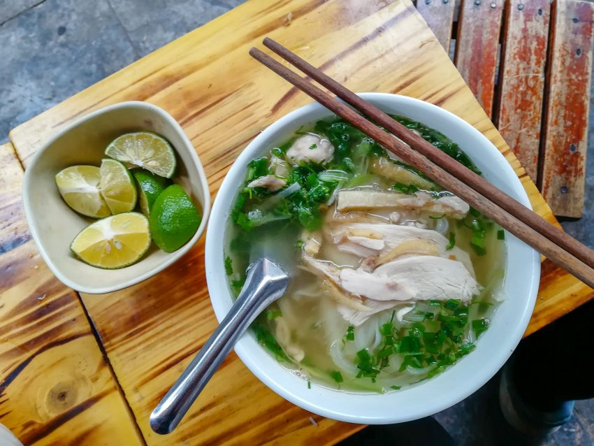 Vietnam Hanoi Pho with Chicken Slices and Herbs 8 Cheap Things to do in Hanoi, Vietnam