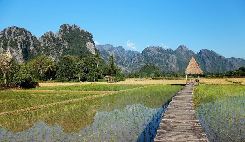 View across Vang Vieng, Laos