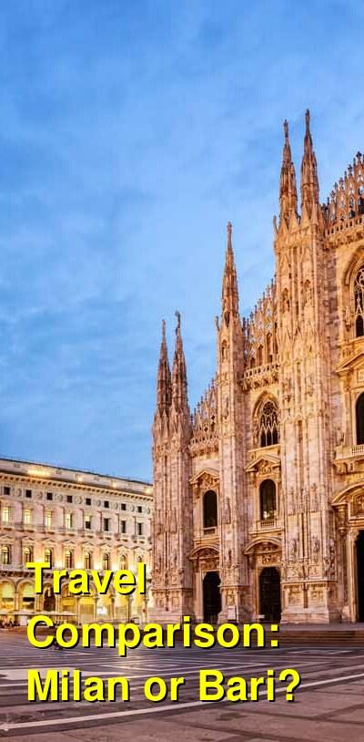Milan vs. Bari Travel Comparison